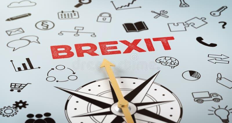 En kompass med text och symboler - Brexit stock illustrationer
