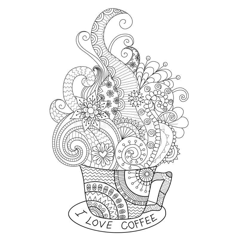 En kopp av den varma kaffezentangledesignen för färgläggningboken för vuxen människa stock illustrationer