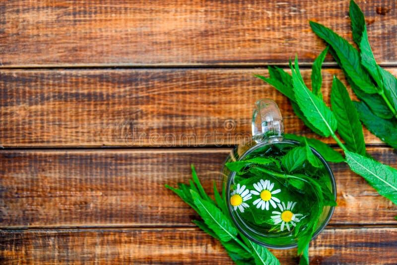En kopp av mintkaramellte med kamomill på en träbakgrund örtte med sidor för kamomill och för ny mintkaramell på tabellen kopia royaltyfri foto