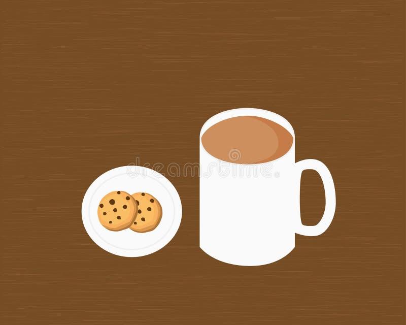 En kopp av mjölkar te och kakor med wood texturbakgrund arkivbild