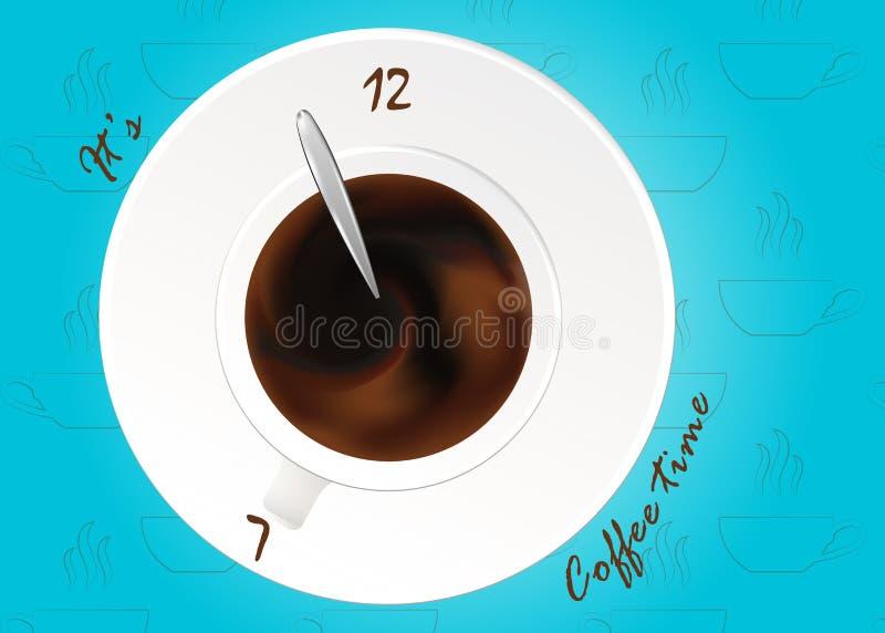 En kopp av svart kaffe eller choklad Realistisk vektor på modell Begrepp Kaffetid, klockor stock illustrationer