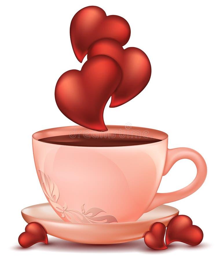 En kopp av varm choklad med bakgrund för förälskelsehjärtavit Realistisk rosa kitchenwarekopp på tefatet med den blom- prydnaden royaltyfri illustrationer