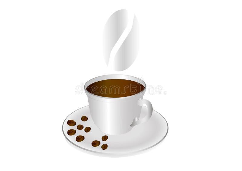 En kopp kaffe och kaffebönor på ett tefat royaltyfri illustrationer