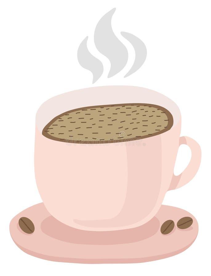 En kopp med ett tefat av varmt kaffe Ånga över varmt kaffe, kaffebönor Vektor isolerad illustration på vit bakgrund royaltyfri illustrationer