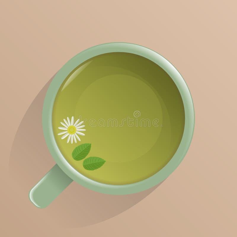 En kopp med sidor för grönt te, kamomill- och mintkaramell, bästa sikt royaltyfri illustrationer