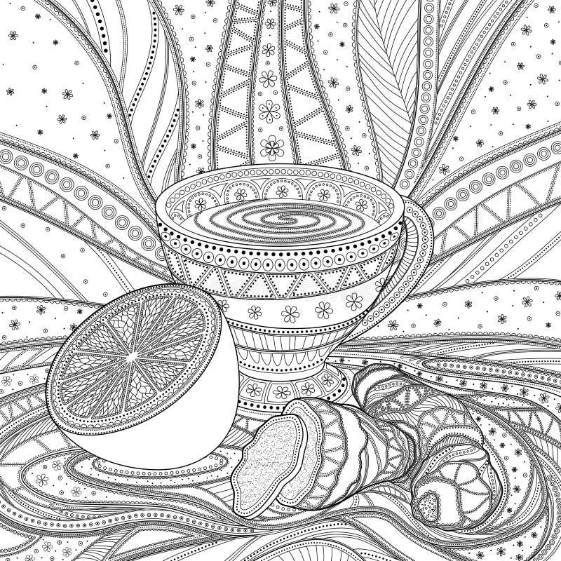 En kopp te med ingefäran och citronen, gråton royaltyfri illustrationer