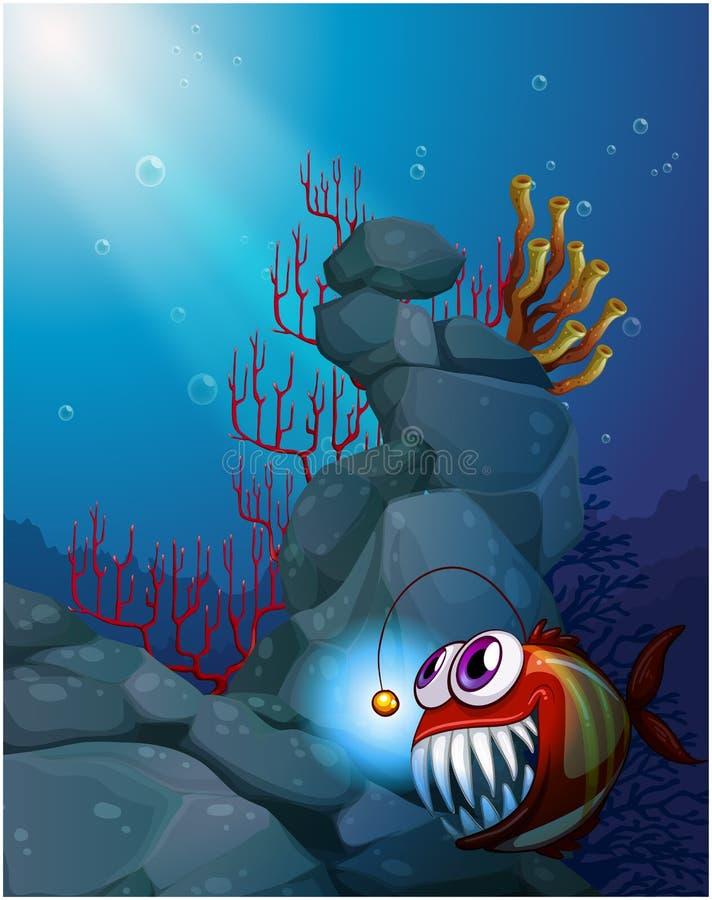 En korallrev under havet med en piranha vektor illustrationer