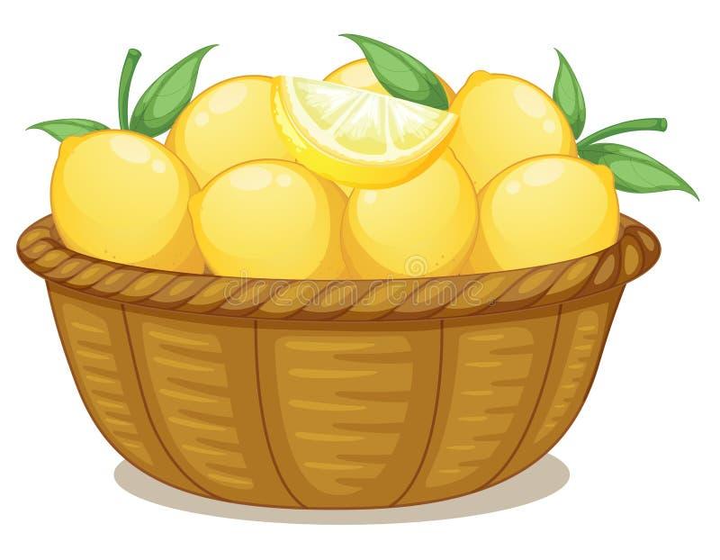 En korg av citroner stock illustrationer