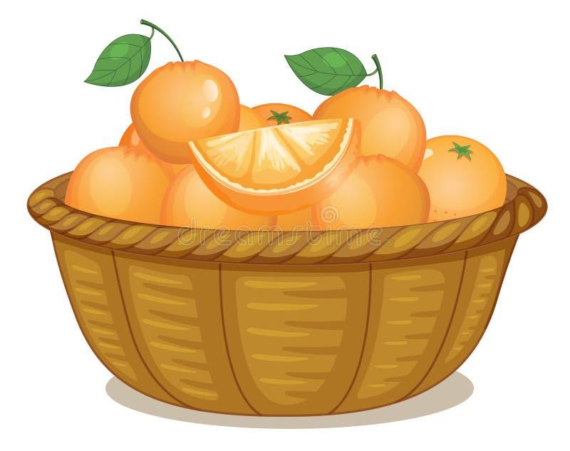 En korg mycket av apelsiner stock illustrationer