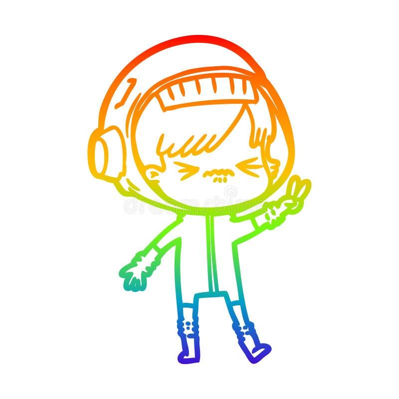 En kreativ gradientlinje för regnbåge som ritar en arg kartoon-tjej som håller upp två fingrar vektor illustrationer