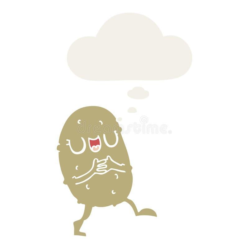 En kreativ karikatyr glad potatis och tankbubbla i retro-stil stock illustrationer