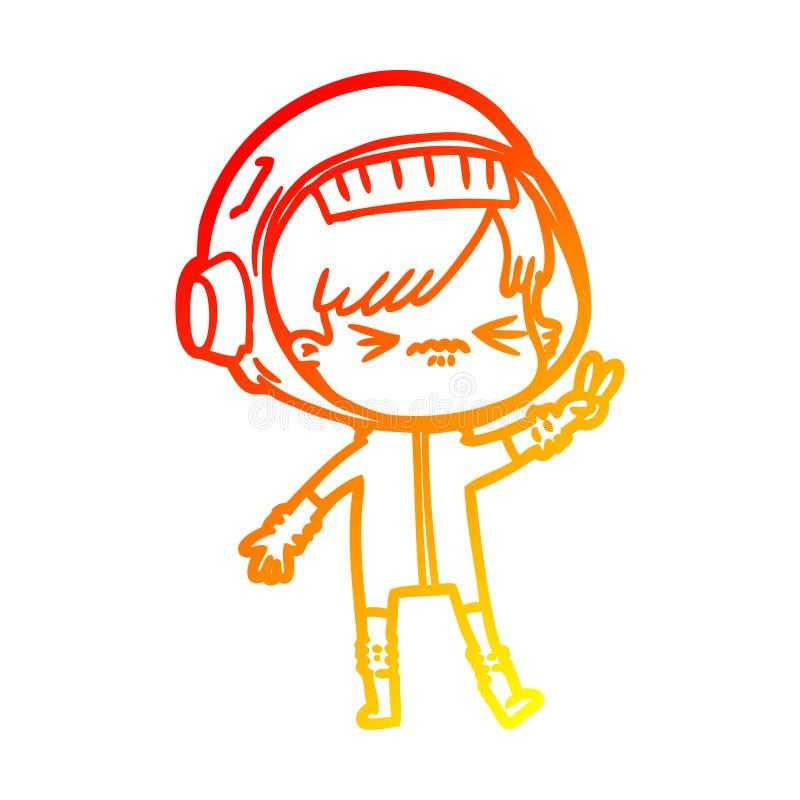 En kreativ, varm gradientlinje som ritar en arg kartoon-tjej som håller upp två fingrar stock illustrationer