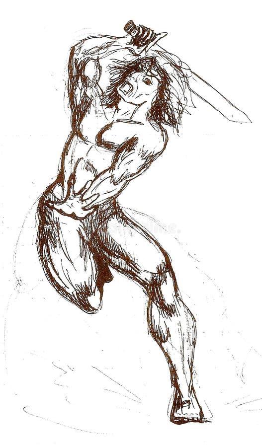 en krigare med svärdet på attacken stock illustrationer