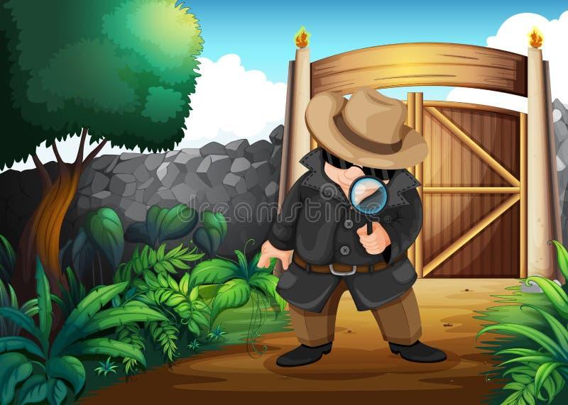 En kriminalare på trädgården vektor illustrationer