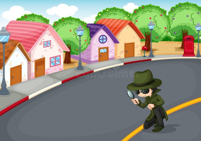 En kriminalare på vägen vektor illustrationer
