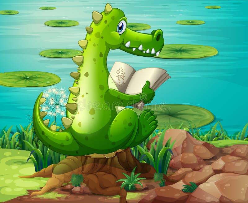 En krokodilläsning nära dammet royaltyfri illustrationer
