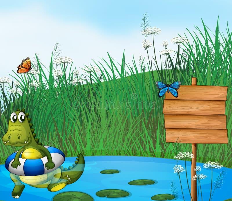 En krokodilsimning i dammet stock illustrationer