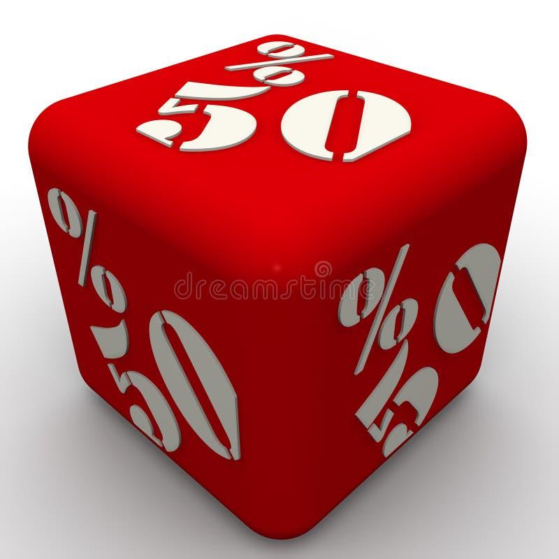 En kub märkte femtio procentsatser stock illustrationer