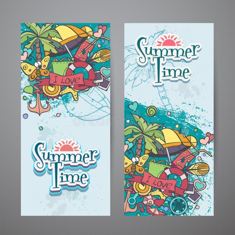 En kulör uppsättning av vertikala baner med sommar klottrar royaltyfri illustrationer