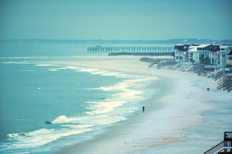 En kurva i stranden med en pir i avståndet arkivfoto