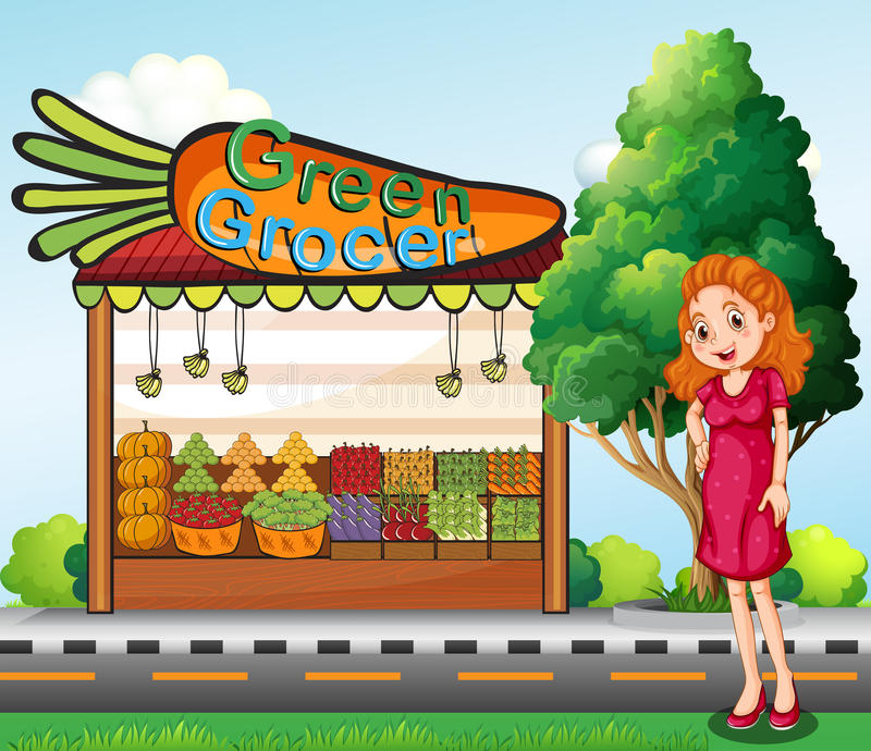 En kvinna framme av stallen för grön livsmedelsbutik royaltyfri illustrationer