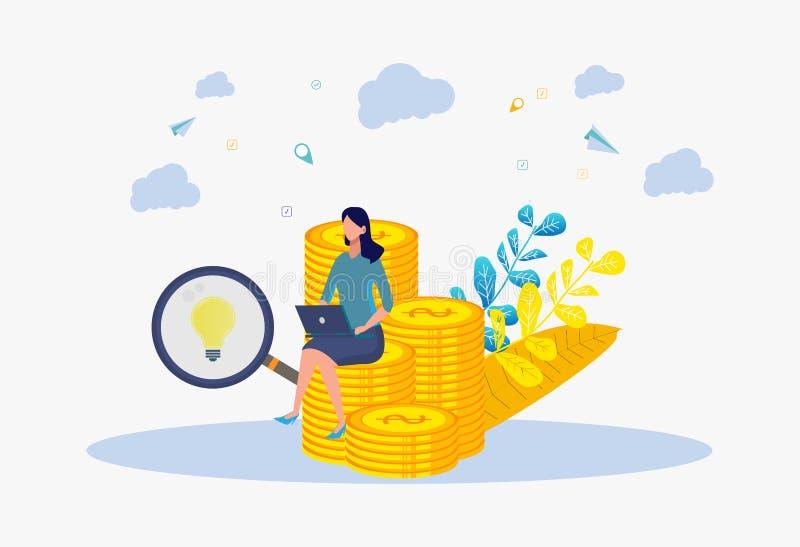 En kvinna gör pengar på internet Metafor som är rik, framgång, idé, expertis, utbildning vektor f?r semester f?r f?rgrik begrepps stock illustrationer