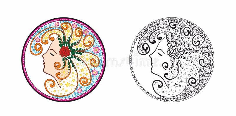 En kvinna i en dröm Illustrerat rundat tecken av en kvinna som drömmer stock illustrationer