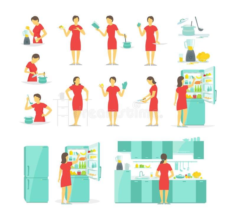 En kvinna i kökuppsättningen av olikt poserar Förberedelsemat vid receptet Disk och bordsservis Kylblandare stock illustrationer