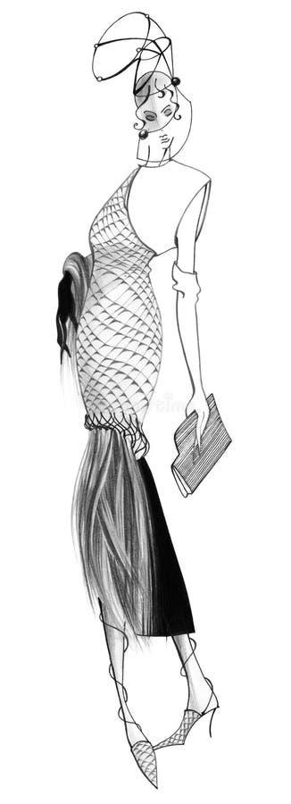 En kvinna i en klänning som göras av reptilar med lång päls stock illustrationer