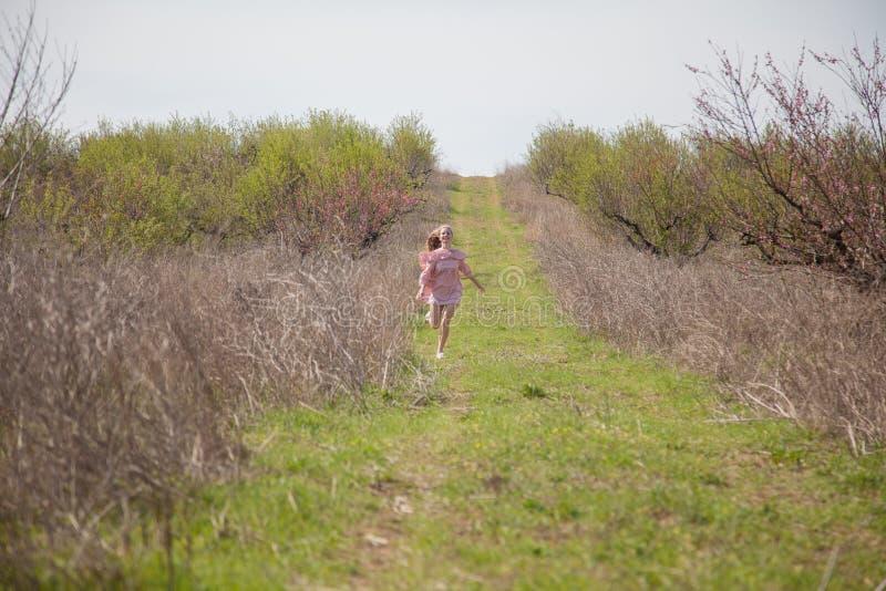 En kvinna i en rosa klänning kör skogvägen royaltyfri fotografi