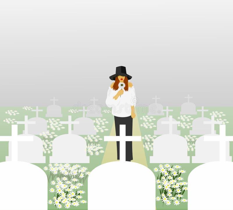 En kvinna i en vit klänning som bär en svart hatt, som är ledsen, gick till graven i kyrkogården stock illustrationer