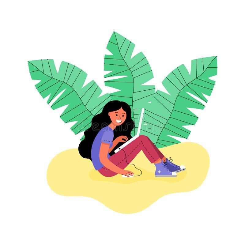 En kvinna med en bärbar dator som omges av tropiska sidor också vektor för coreldrawillustration royaltyfri illustrationer
