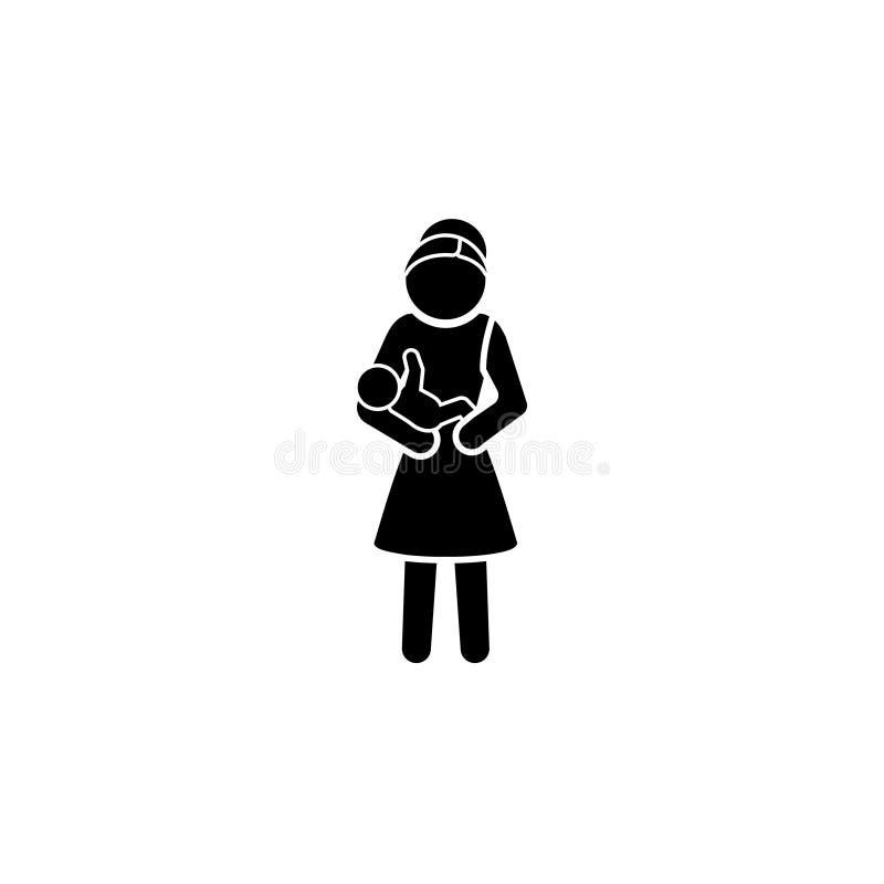 En kvinna med en behandla som ett barn i henne armar vektor illustrationer
