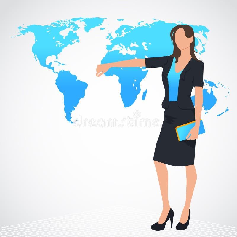 En kvinna med en ordöversikt stock illustrationer