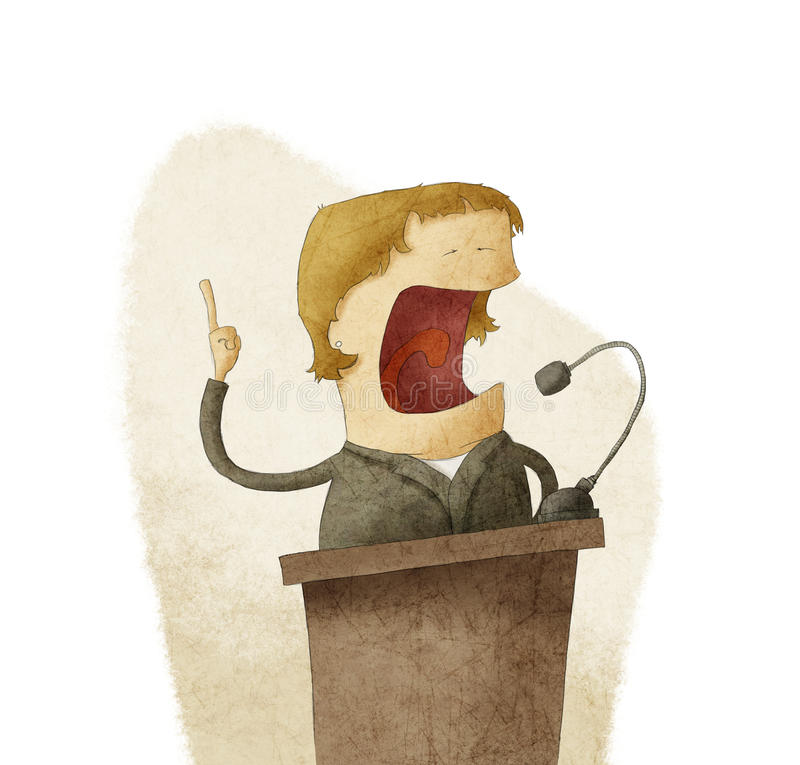 Kvinna på podiet som ger anförande vektor illustrationer