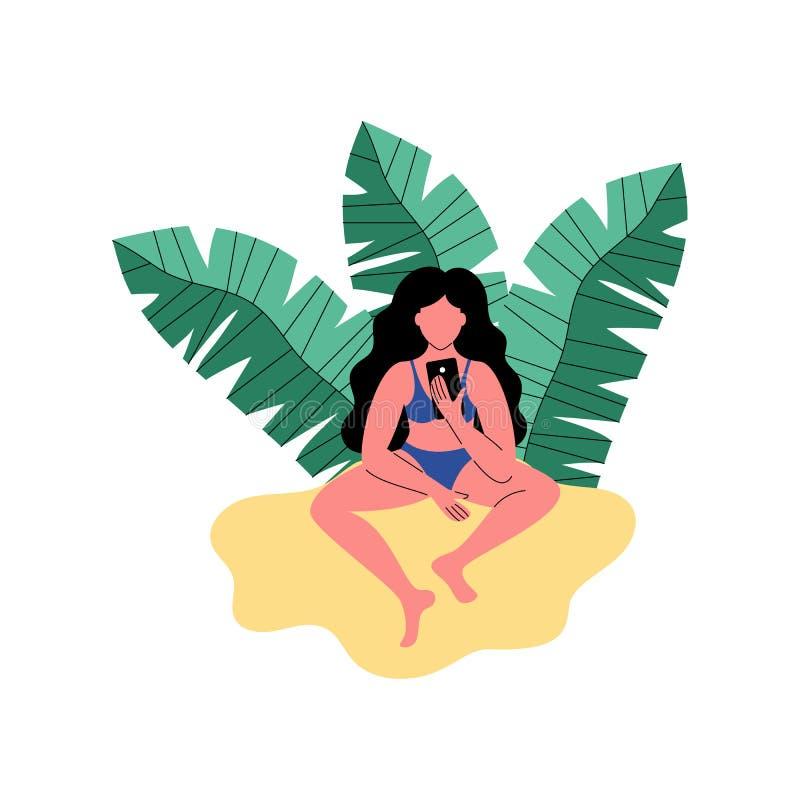 En kvinna på stranden använder en smartphone också vektor för coreldrawillustration vektor illustrationer