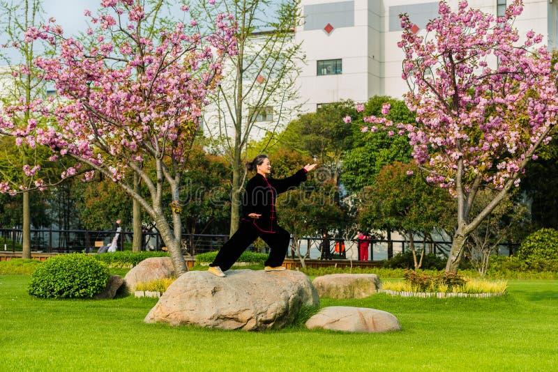 En kvinna som övar tai-chien gucheng, parkerar det shanghai porslinet arkivfoton