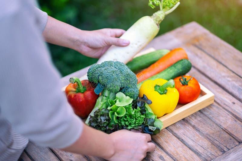 En kvinna som håller och plockar färska blandade grönsaker från en träbricka arkivfoto