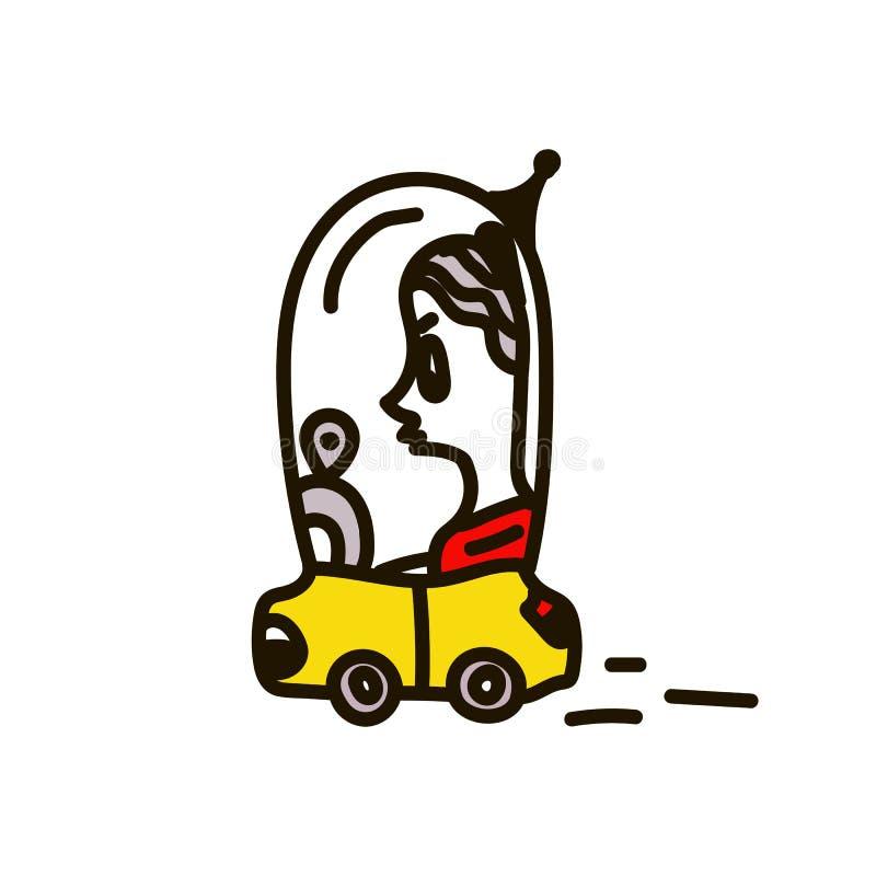 En kvinna som k?r en bil Vektorillustration av begreppet av människoliv, i dagliga livet av framtiden, lägenhet för tecknad filmt vektor illustrationer