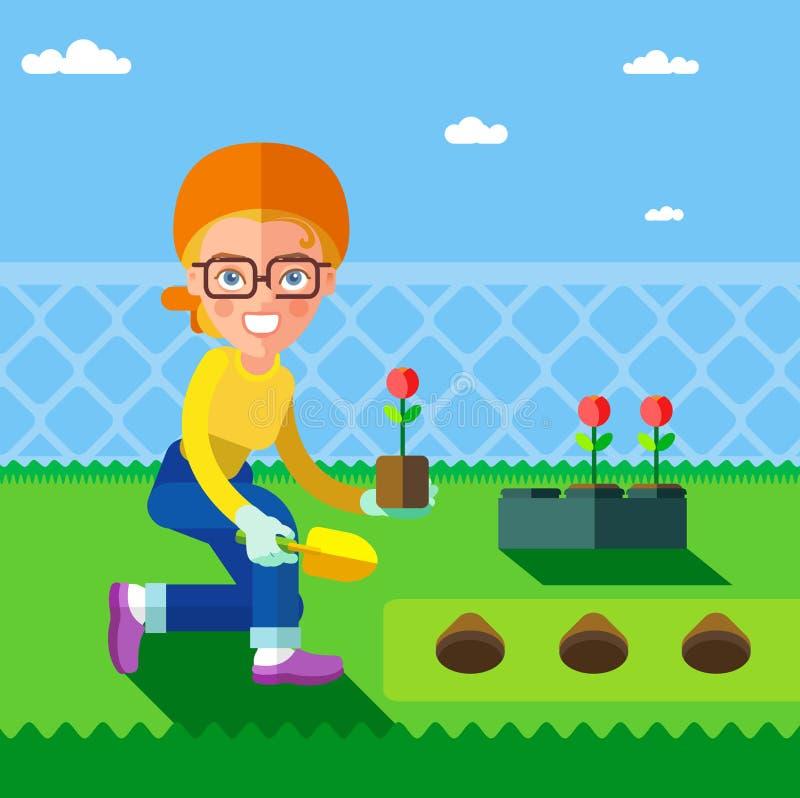 en kvinna, som planterar blommor i trädgården i vår stock illustrationer