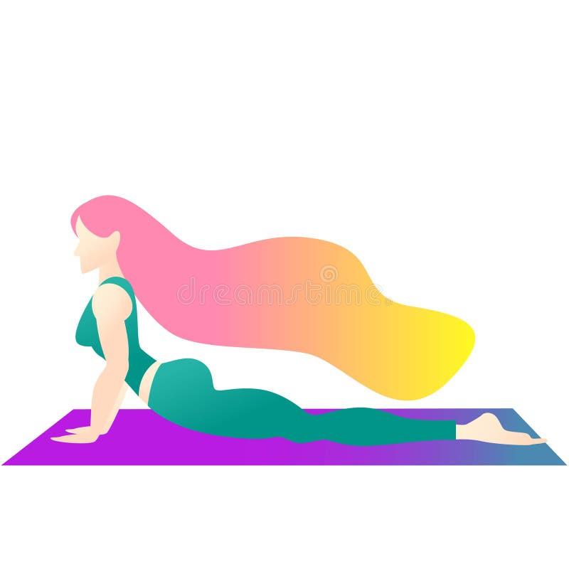 En kvinna startade i yoga med en kobra poserar Bhujangasana Plan teckendesign f?r f?rgrik illustration indigobl?tt vektor illustrationer