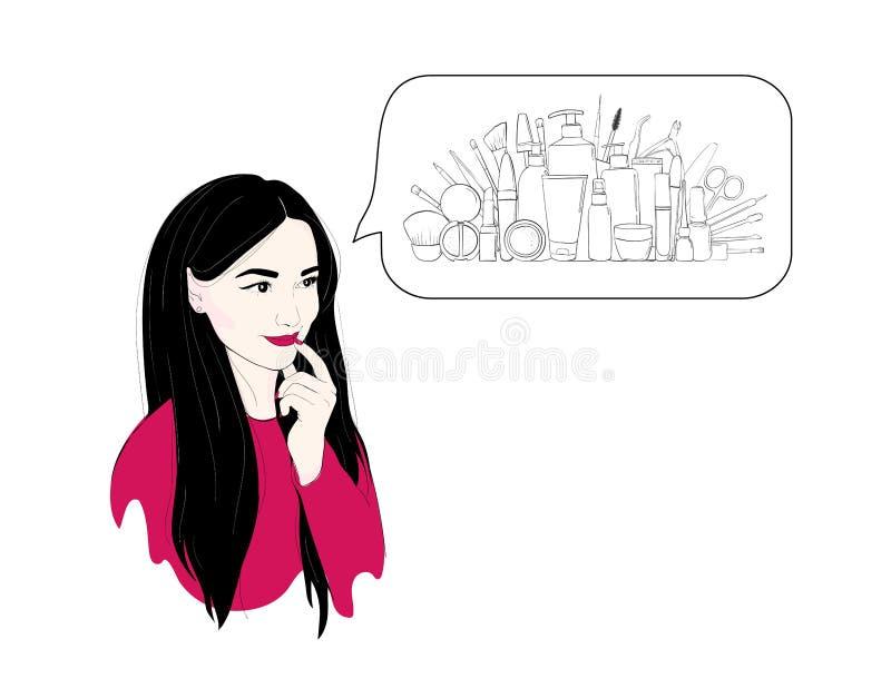 En kvinna tänker om skönhetsmedel eller shopping eller drömmar Modeillustration av en brunettflickastående med långt hår stock illustrationer