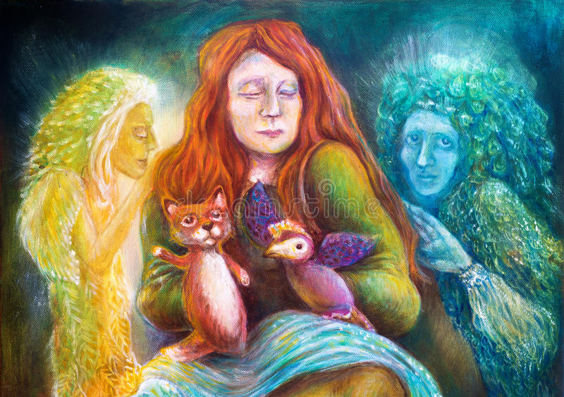 En kvinnaberättelsekassör med dockor och skyddande andar, fantasifantasi specificerade färgrik målning royaltyfri bild