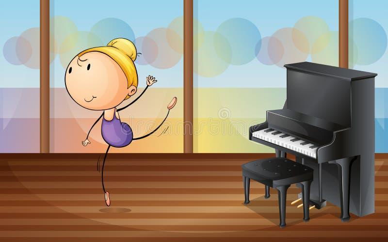 En kvinnadans nära pianot royaltyfri illustrationer