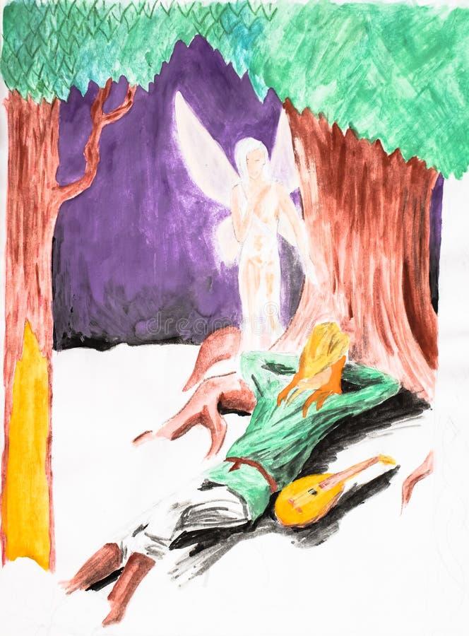 En kvinnlig ängel spionerar på en balalajkamusiker som vilar under ett träd Gouache och blyertspenna royaltyfri illustrationer