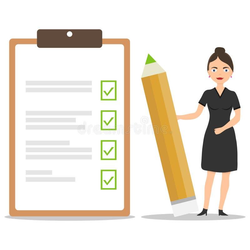 En kvinnlig affärsman rymmer en blyertspenna med avslutade uppgifter och stämplade anmärkningar Utförande av uppgifter och instäl stock illustrationer
