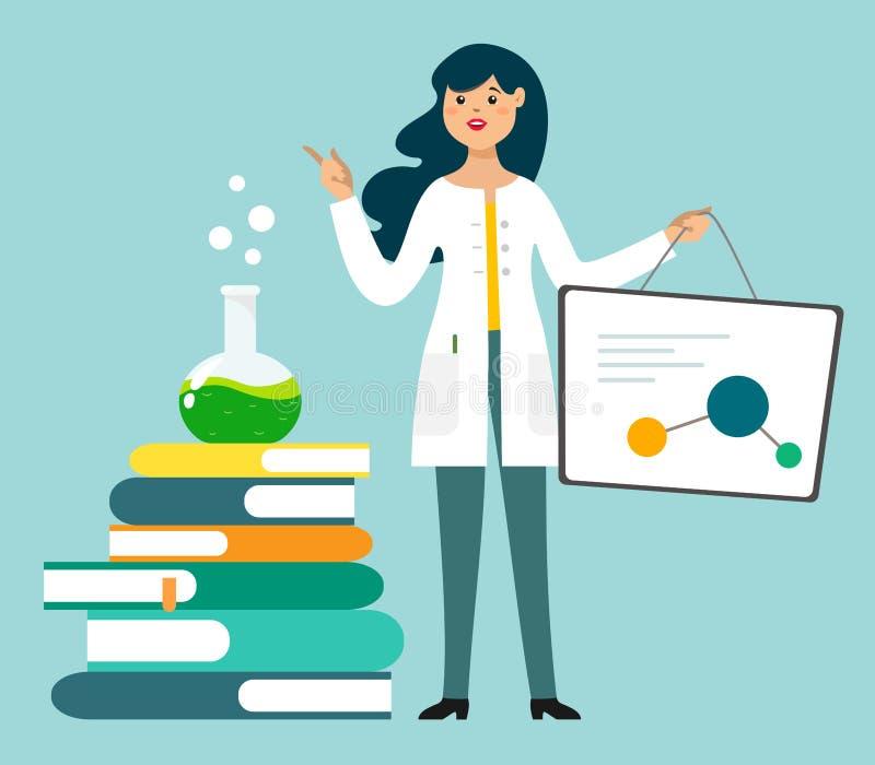 En kvinnlig forskare, kemist gör en presentation eller en rapport Vektorillustration i tecknad filmstil vetenskaplig aktivitet stock illustrationer