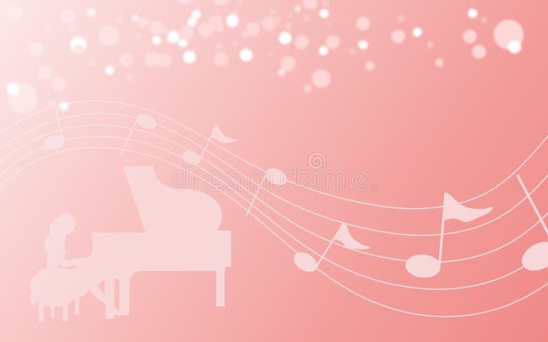 En kvinnlig pianist, musikaliskt beteckningssystem vektor illustrationer
