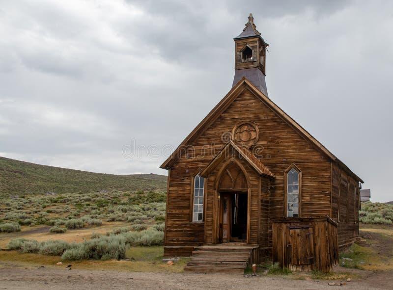 En kyrka i Bodie, Kalifornien arkivbild