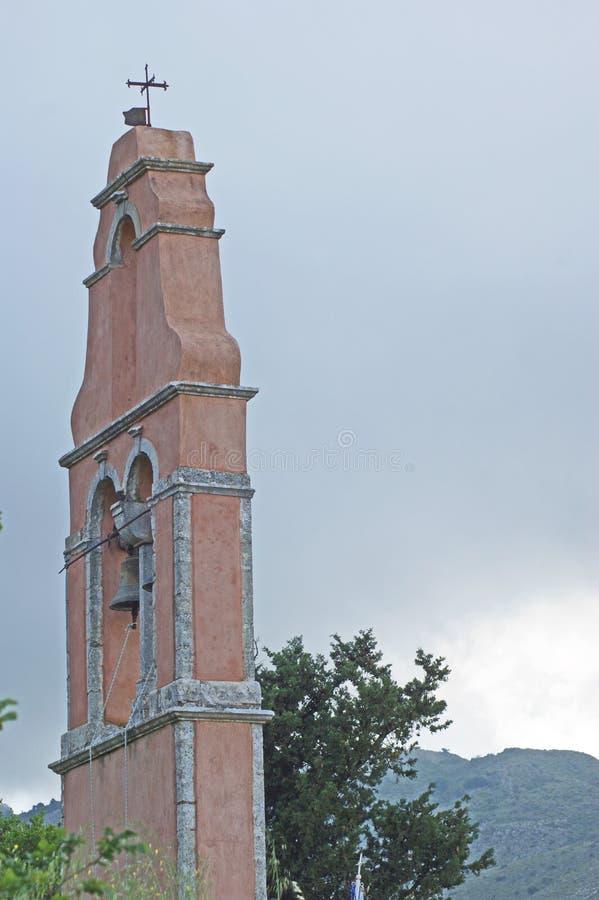 En kyrklig klocka i Korfu royaltyfri foto